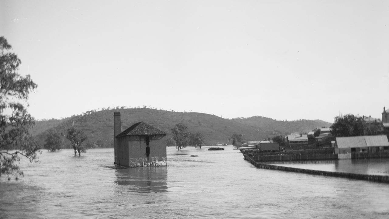 The Gundagai flour mill surrounded by water during the flood. Picture: Supplied