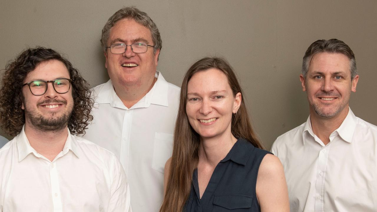 The team leading The Daily Examiner into the digital-only era consists deputy editor Jarrard Potter, chief photographer Adam Hourigan, digital producer Jenna Thompson and editor Bill North.