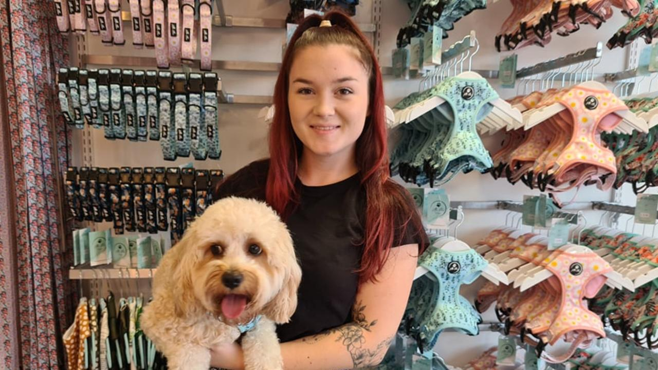 Jessica Rolfe and Ellie the toy cavoodle at the new store, Little Ellie Boutique.