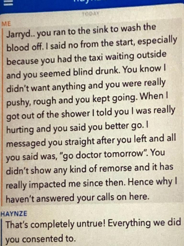 Snapchat messages sent between Jarryd Hayne and the woman he sexually assaulted several weeks after the incident. Picture: Supplied.