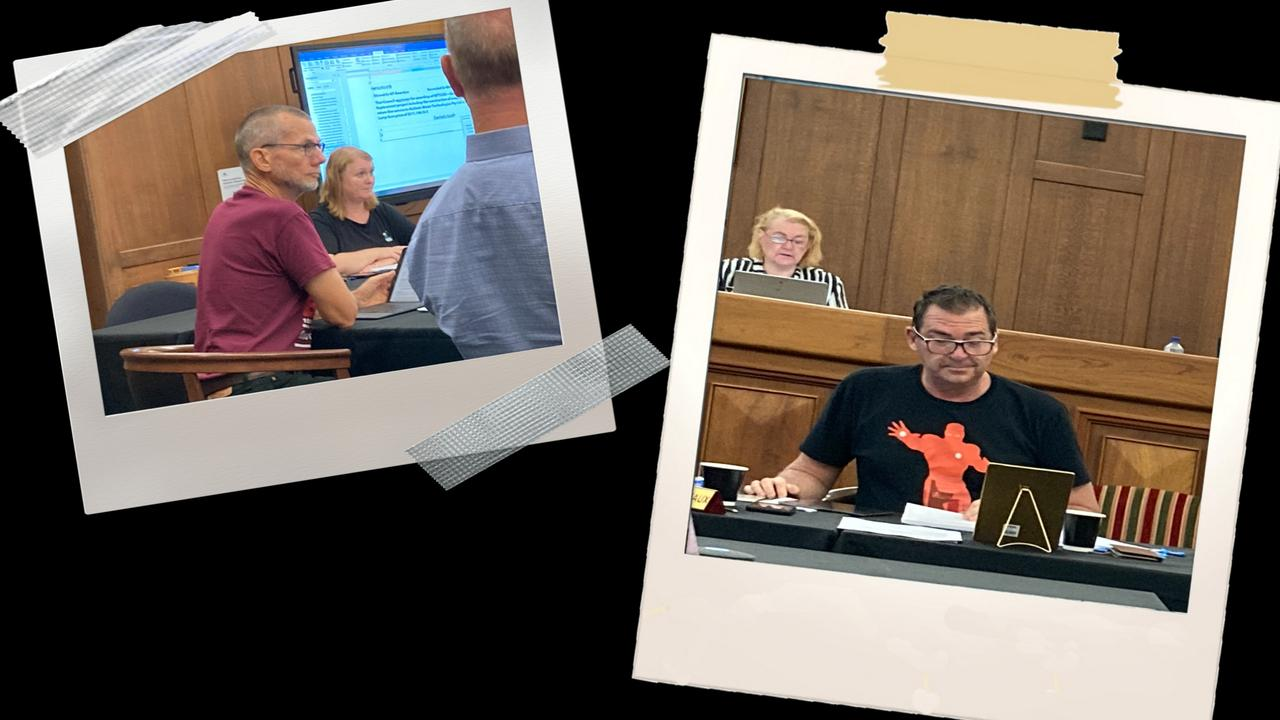 Gympie councillors Dan Stewart and Bruce Devereaux caused a stir on social media on Wednesday morning when they wore tee-shirts to the council's ordinary meeting.