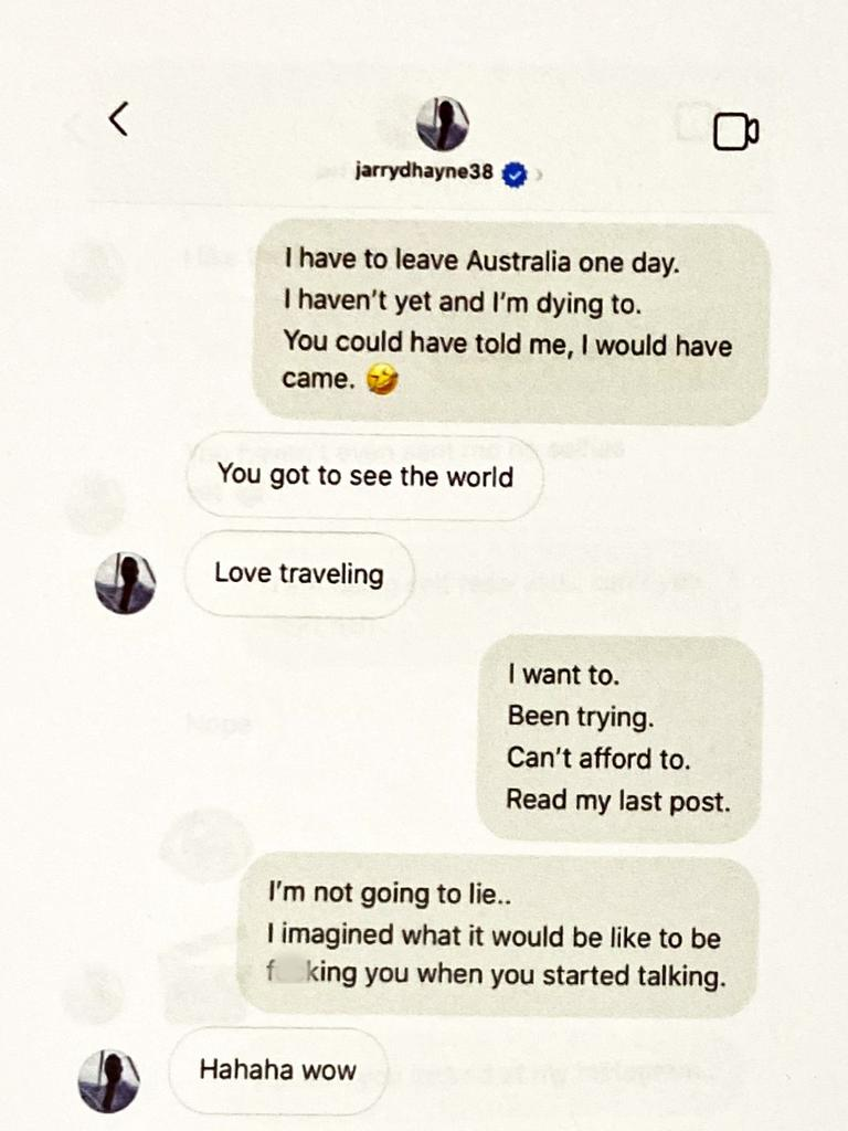 The conversation on Instagram before the pair met. Pictures: Supplied.