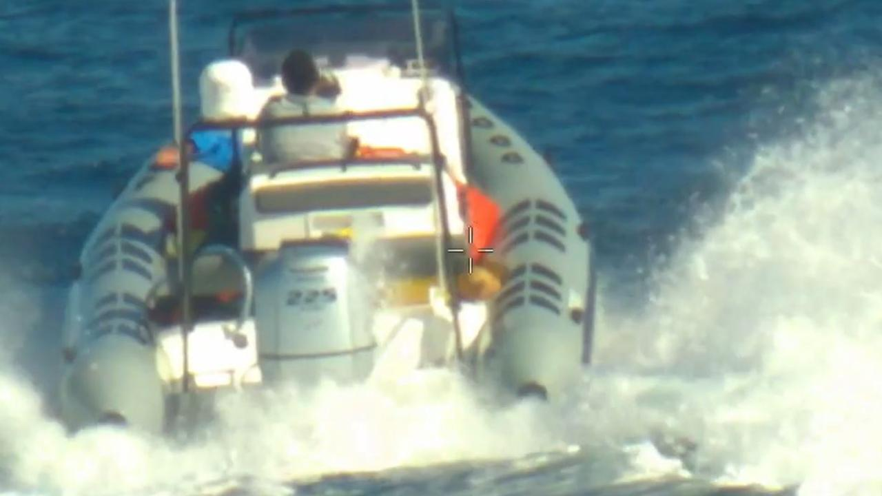 A navy patrol boat's footage of the chase.