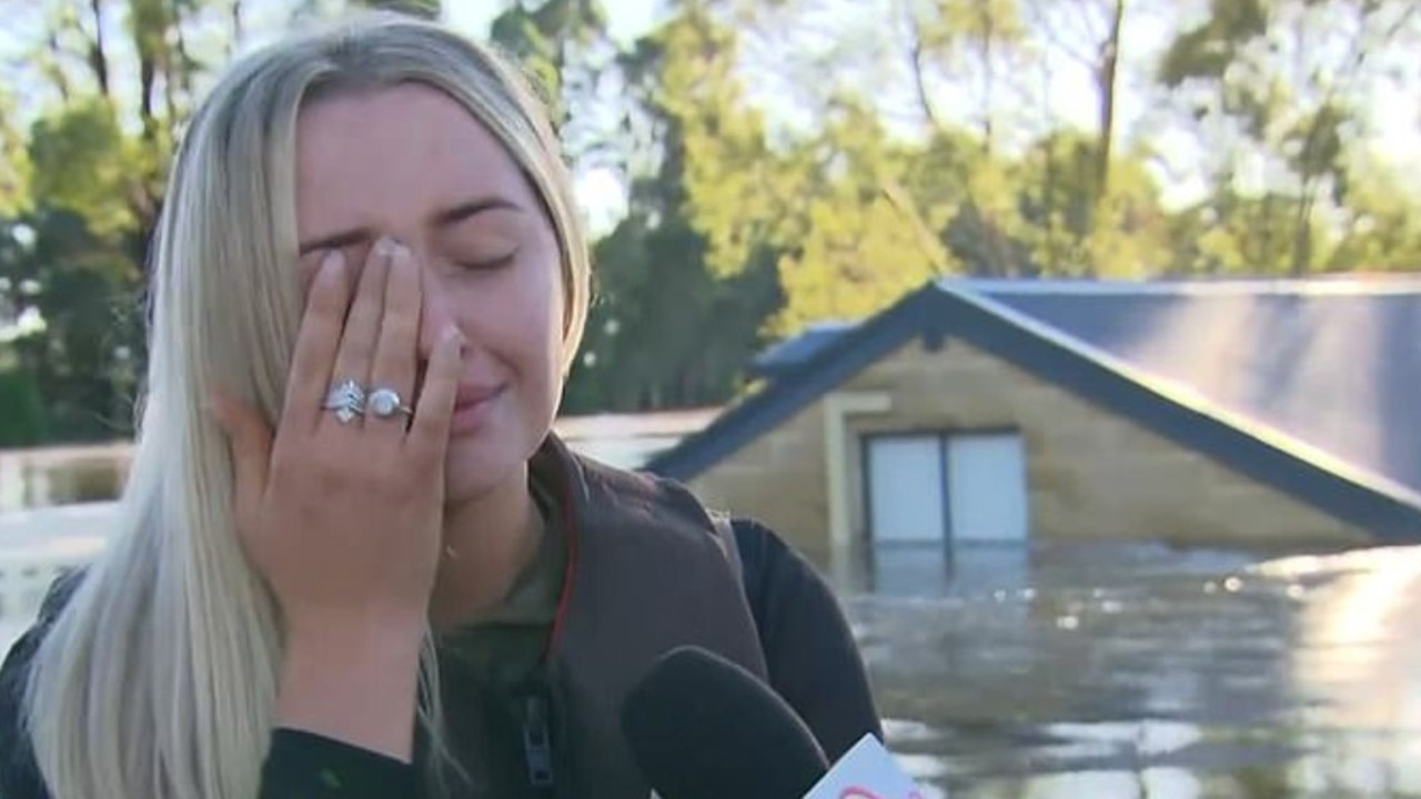 Brittnee and her family had been evacuated from their Pitt Town home on Friday night. Picture: Sunrise/Channel 7