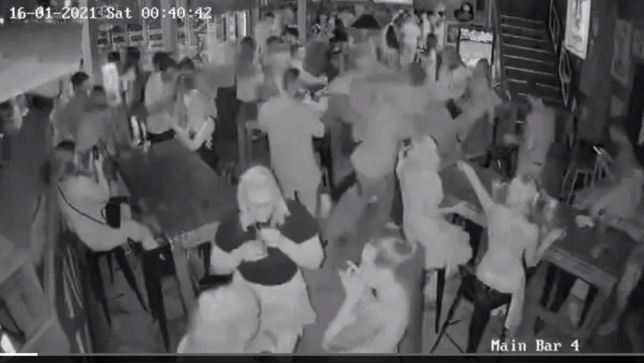 Les Walker gets knocked unconscious by a man at the Mad Cow tavern