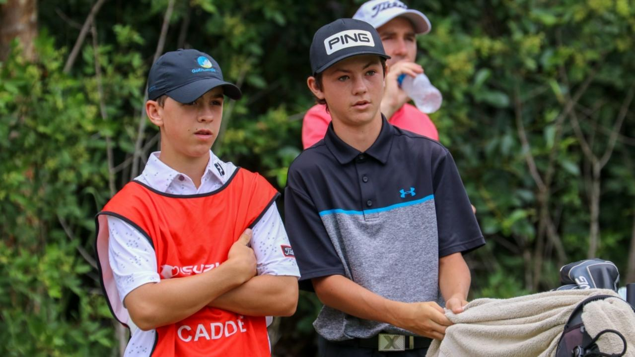 Alfie (left) and Billy Dowling during the first round of the Queensland Open.
