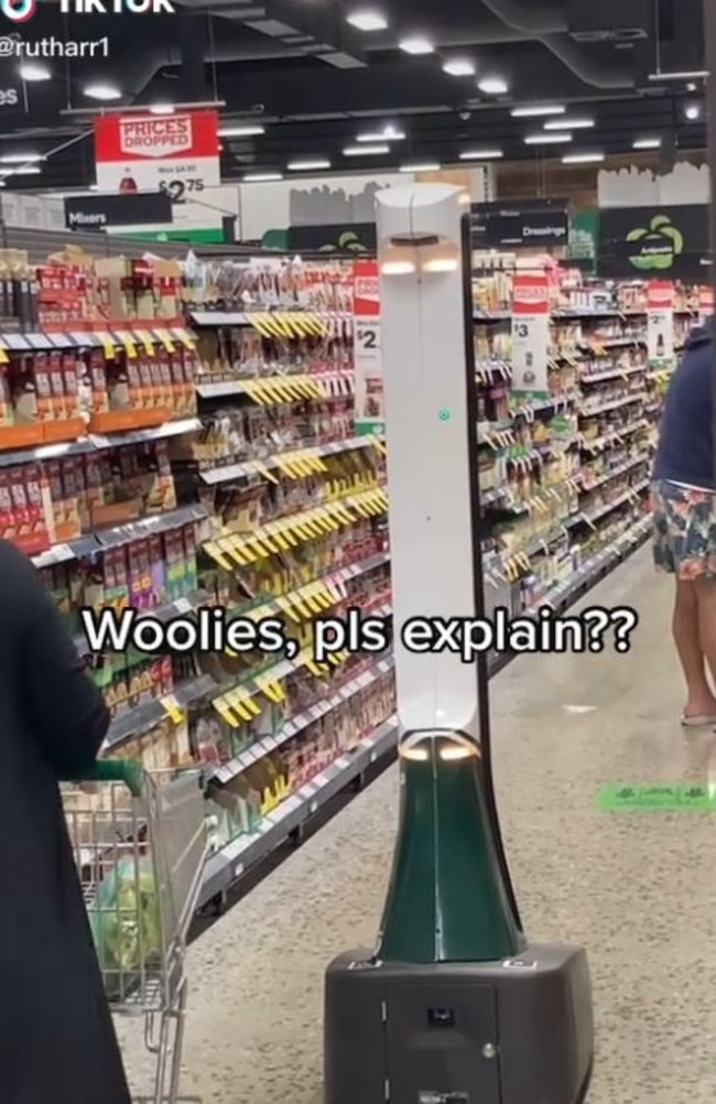 Woolworths shoppers have discovered a robot called 'Hawkie' roaming the aisles. Picture: TikTok/rutharr1