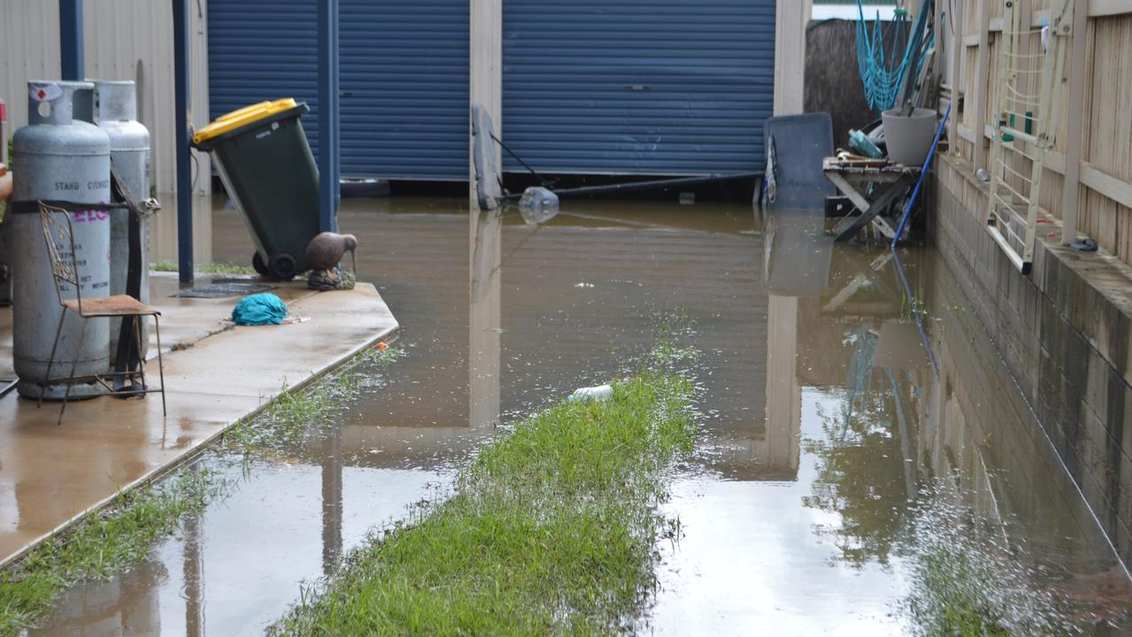 Floodwaters at the back of Shaun Jenner's Fitzroy St property.