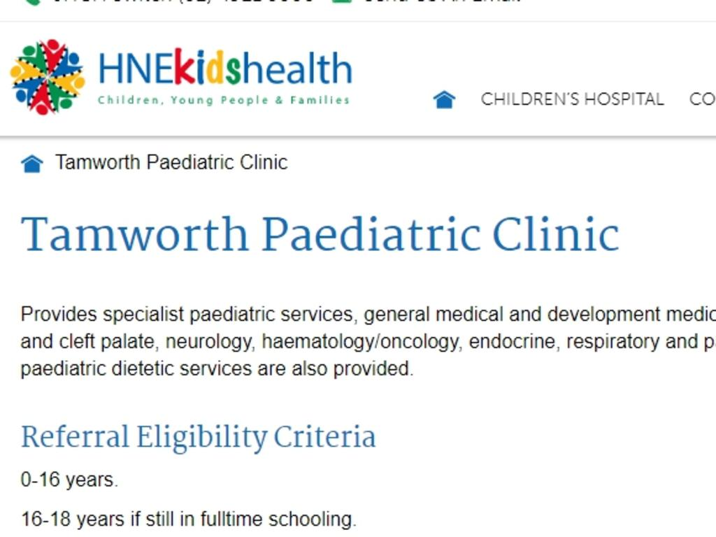 The Tamworth Base Hospital Pediatric Clinic website states that they will only treat kids 16-18 years for mental health issues if they are in school. Picture: Supplied