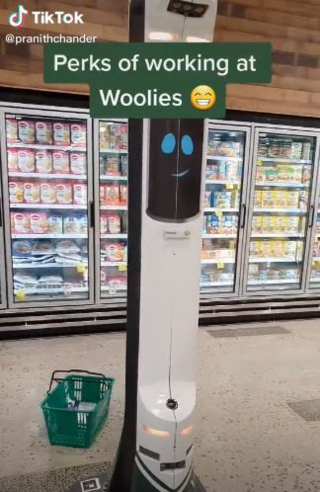The trial of the 'safety robots' began in 2019 and there's about 15 stores with the robot. Picture: TikTok/pranithchander