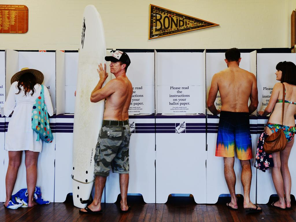 Voting, Aussie style. New research shows climate change is a concern for many voters – but the number one issue for far fewer. Picture: Braden Fastier.