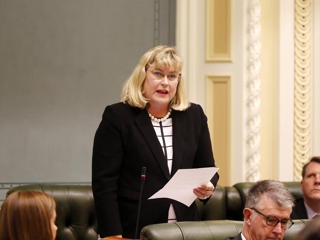Minister Ann Leahy pictured during Question Time at the Queensland Parliament, Brisbane 17th of March 2020. Ministers are sitting one seat apart due to the spread of Coronavirus (Covid 19). (AAP Image/Josh Woning)