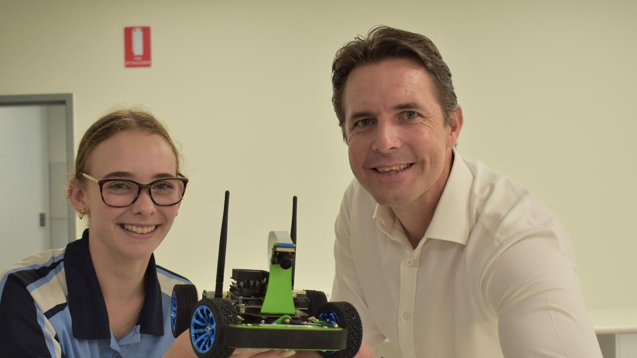 Moranbah State High School Year 10 student Kaylah Dowson and BMA asset director James Palmer at the Queensland Future Skills Partnership and Pilot Program launch at the Resource Centre of Excellence in Mackay on Thursday, March 25, 2021. Picture: Lillian Watkins