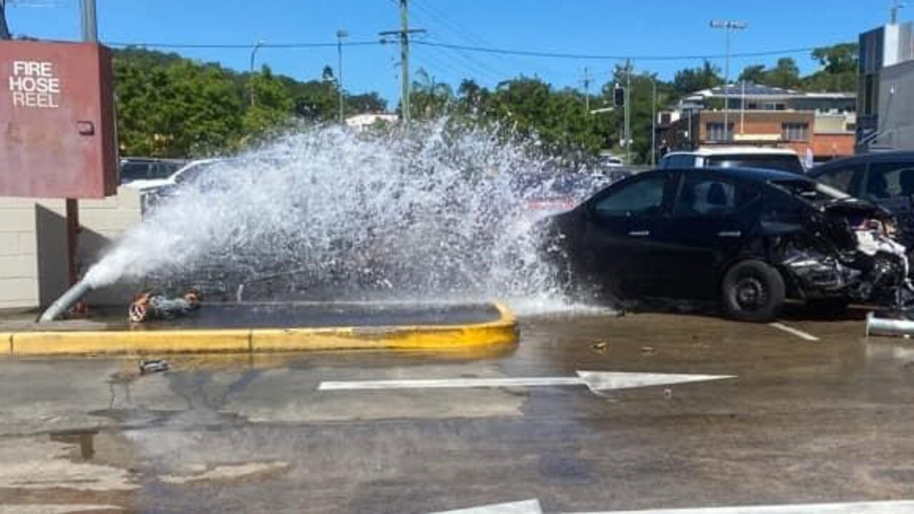An man has been remanded in custody until April after being arrested when he crashed into a fire hydrant at Nambour on Friday. Picture: Facebook