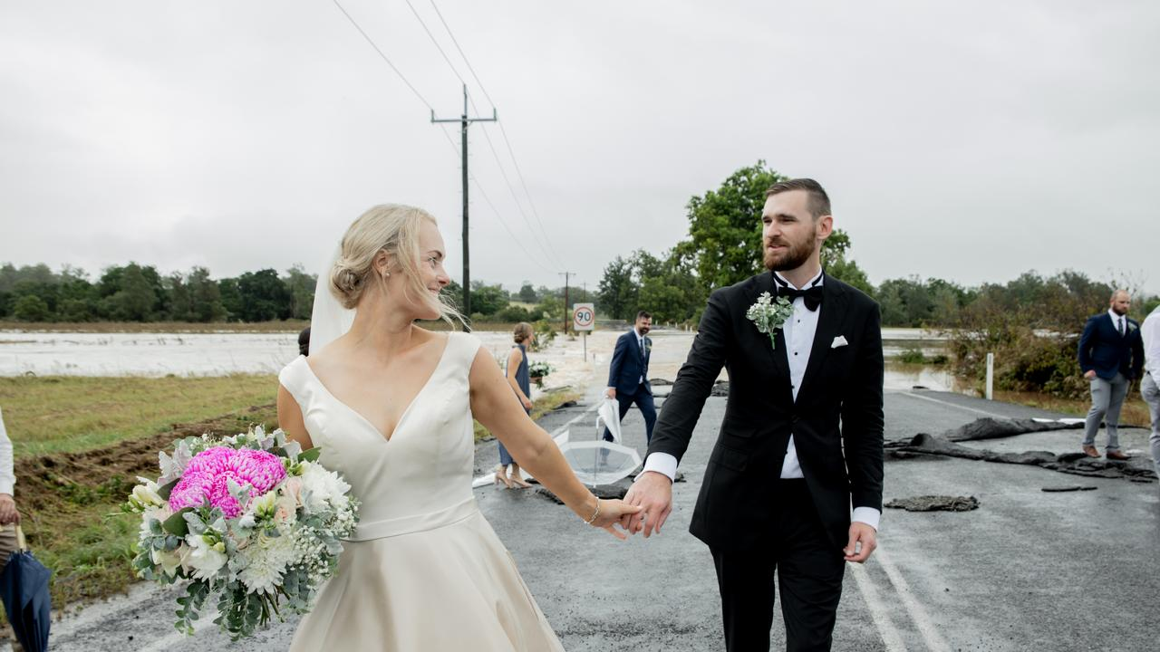 . A pregnant bride-to-be was saved at the last minute with the use of a chopper after flash floods threatened her wedding day. Picture: Amanda Hibbard