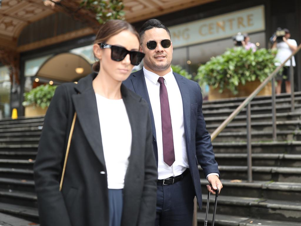 Hayne leaves court with his wife Amelia Bonnici. Picture: NCA NewsWire/Christian Gilles.