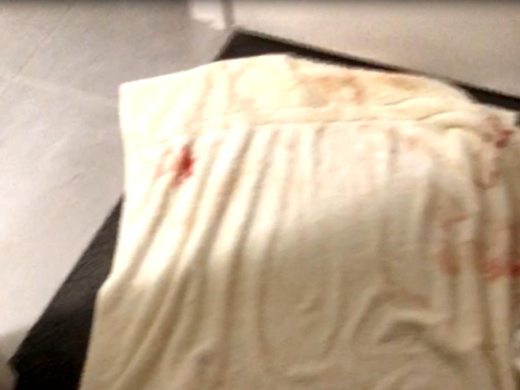 The video shows blood splattered across her bedroom. Picture: Supplied via NCA NewsWire