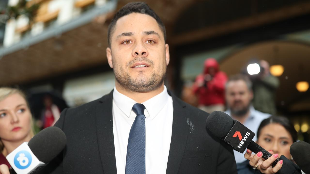 Jarryd Hayne leaving the Downing Centre after being found guilty this week. Picture: NCA NewsWire/Christian Gilles