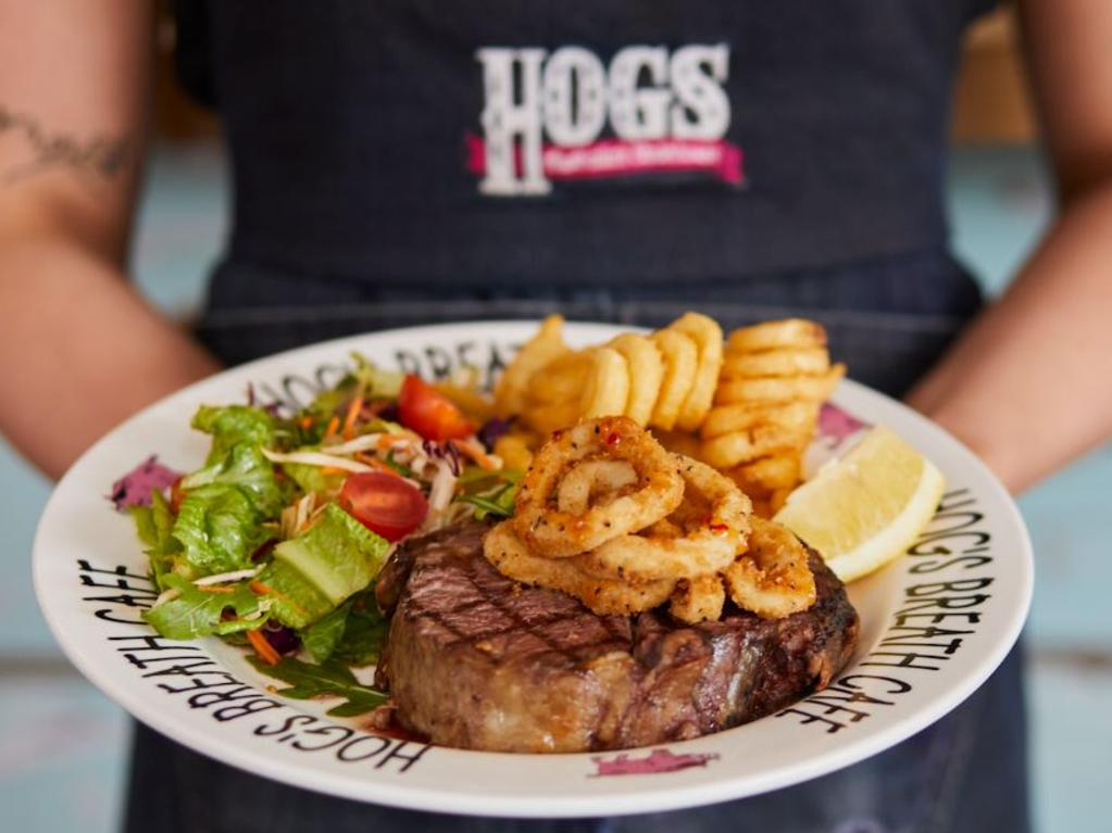Hog's Breath's renowned curly fries and slow cooked prime rib steak will remain when the company soon starts a new menu with seasonal offerings. Picture: Supplied