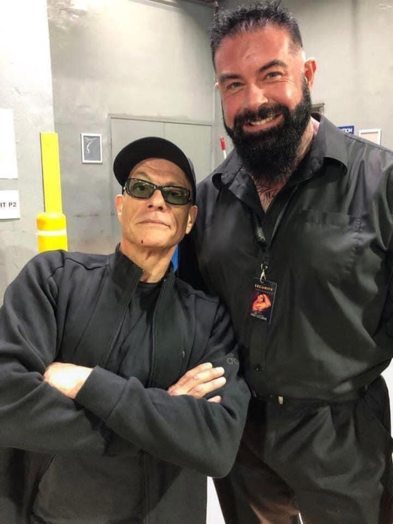 Bodyguard to the stars Wayne Mattei is pictured with Jean Claude Van Damme