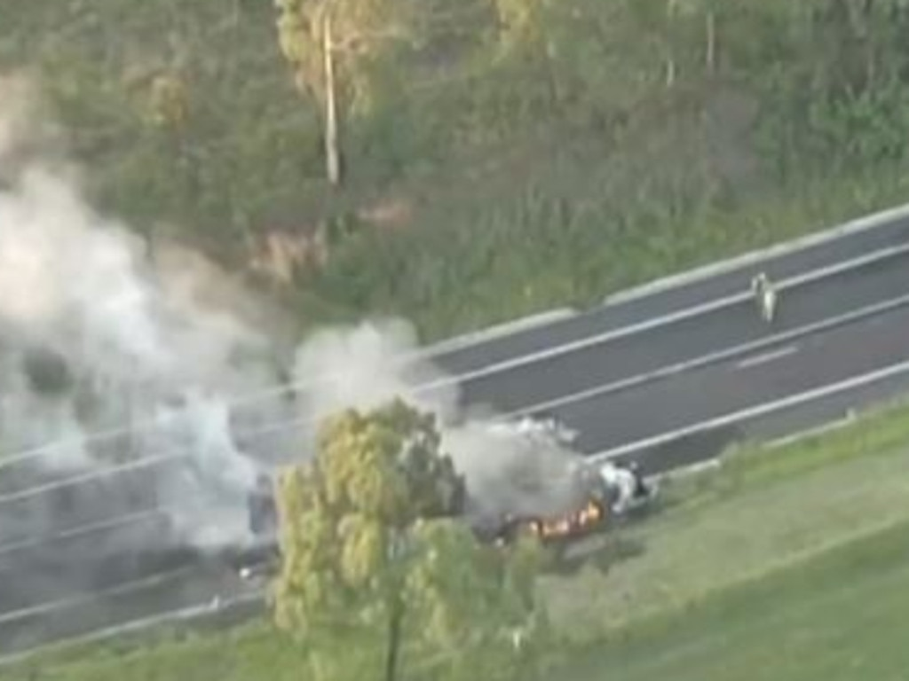 The truck and car collision at Stony Creek. Picture: 7 News