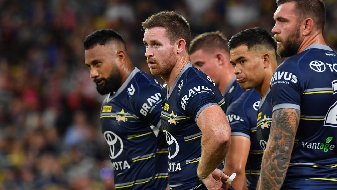 North Queensland Cowboys against St George Illawarra at Queensland Country Bank Stadium. Cowboys Francis Molo, Michael Morgan, Esan Marsters and Kyle Feldt after Dragons cross for a try. Picture: Evan Morgan