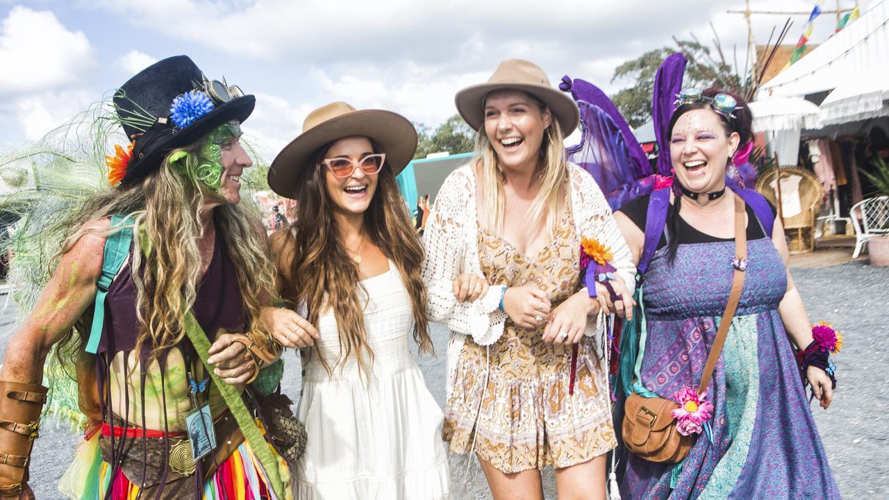 Paddy Mac, Meg Newton, Bridie Rawson and Jacqui Latta enjoying the Byron Bay Bluesfest 2019. Photo by Natalie Grono