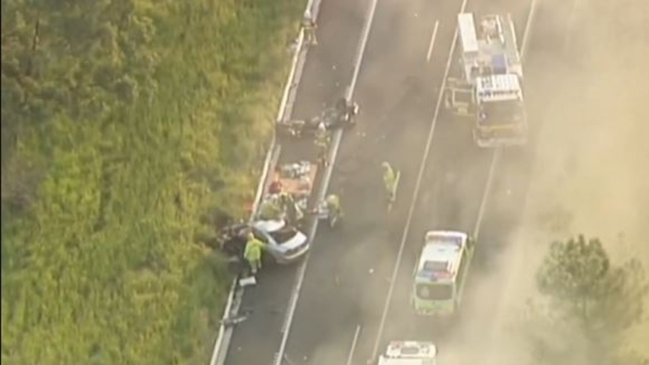 The truck and car collision in the Moreton Bay region. Picture: 7 News