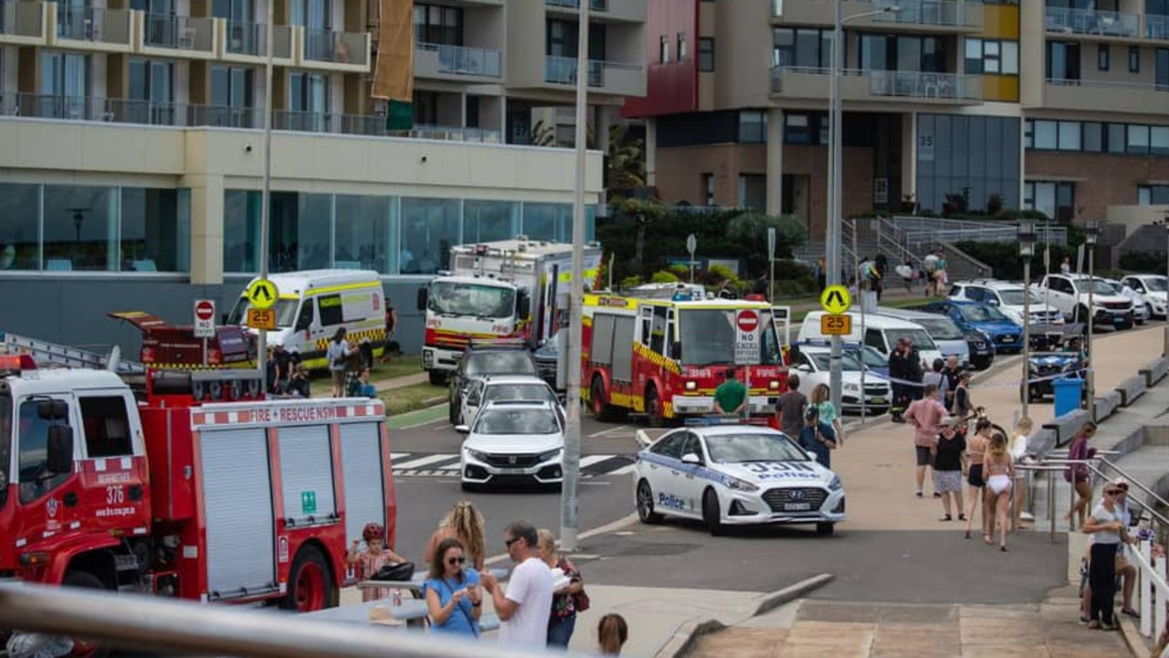 Emergency vehicles at the scene on Sunday. Picture: FRNSW