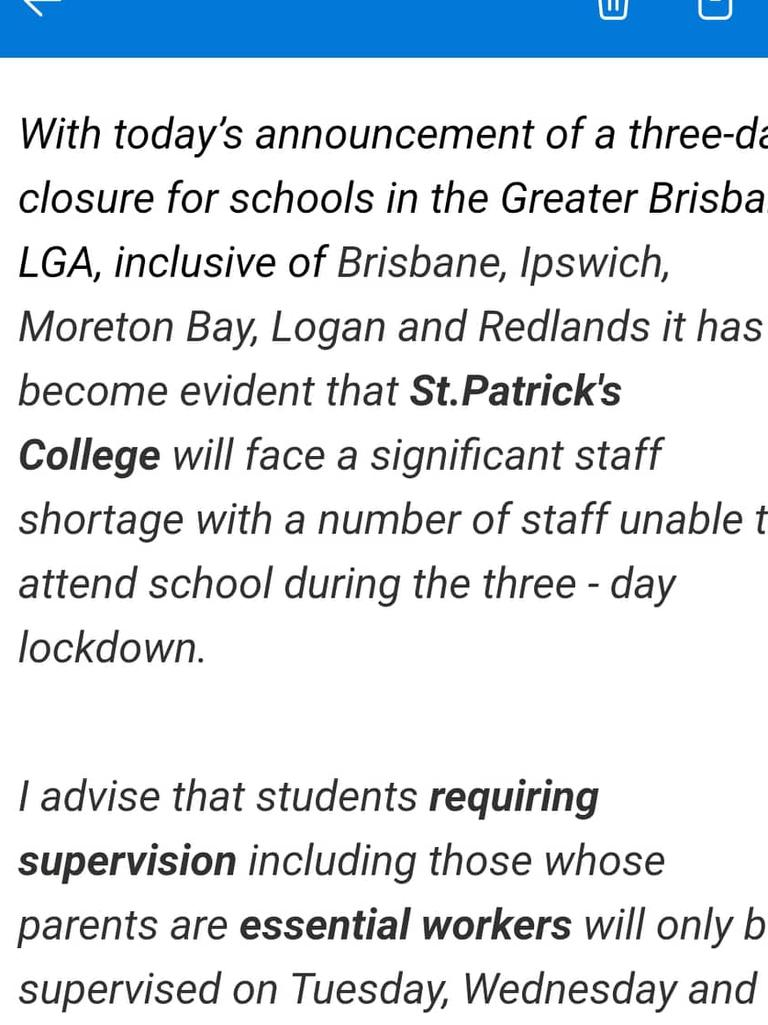 The message sent home to St Patrick's College parents on Monday.