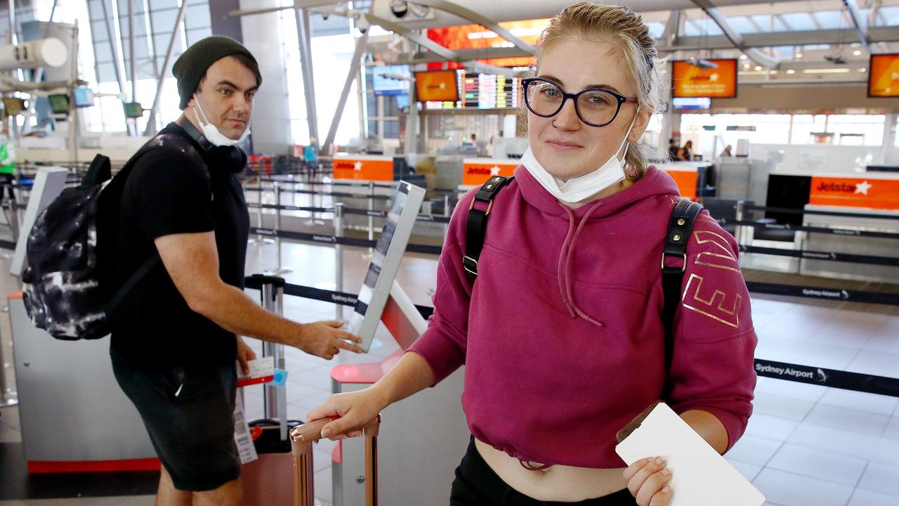 Queenslanders Jess Briguglio and Robert McGowan are reluctantly heading home before the lockdown. Picture: Toby Zerna