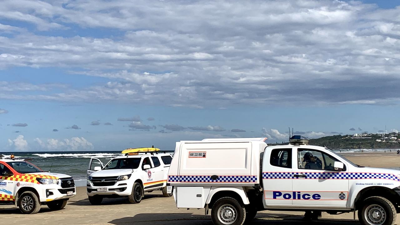 Police have cordoned off the beach at Coolum after the discovery of a body north of Stumers Creek. Picture: Patrick Woods