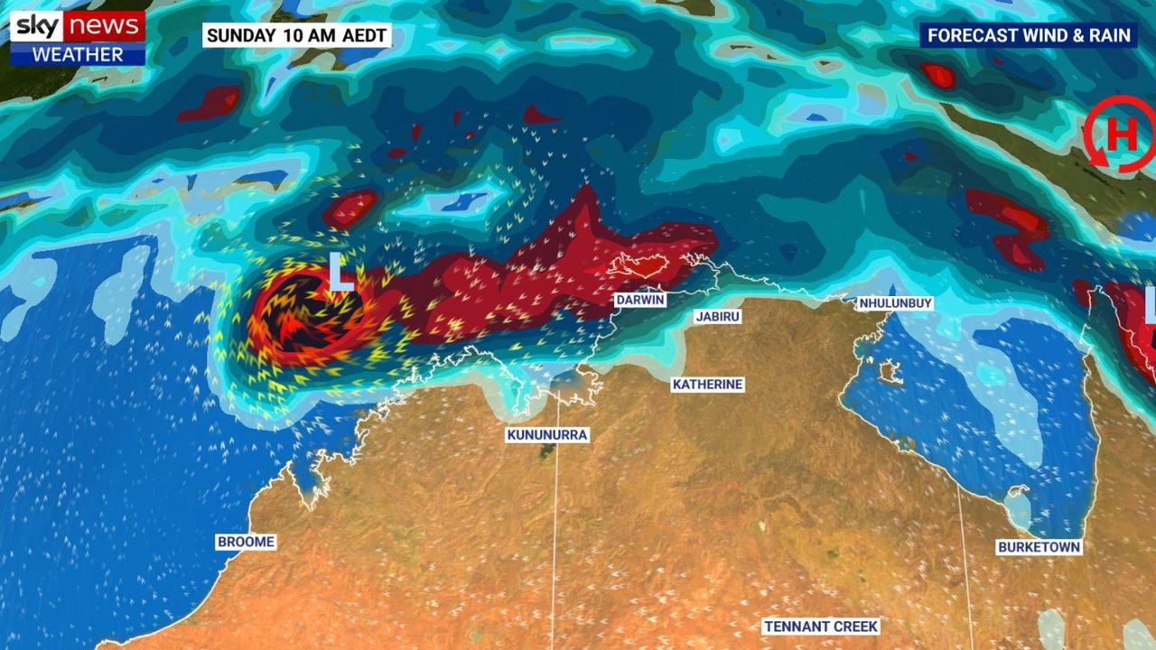 Easter weather could include a cyclone across the Top End. Picture: Sky News Weather