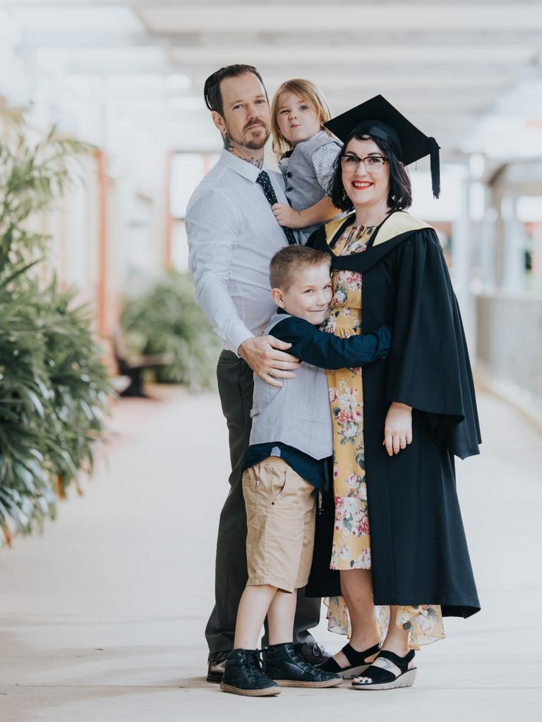 Dave, Hamish, 5, Liam, 8 and Deborah Kelsey celebrate Deb achieving her Bachelor of Education.