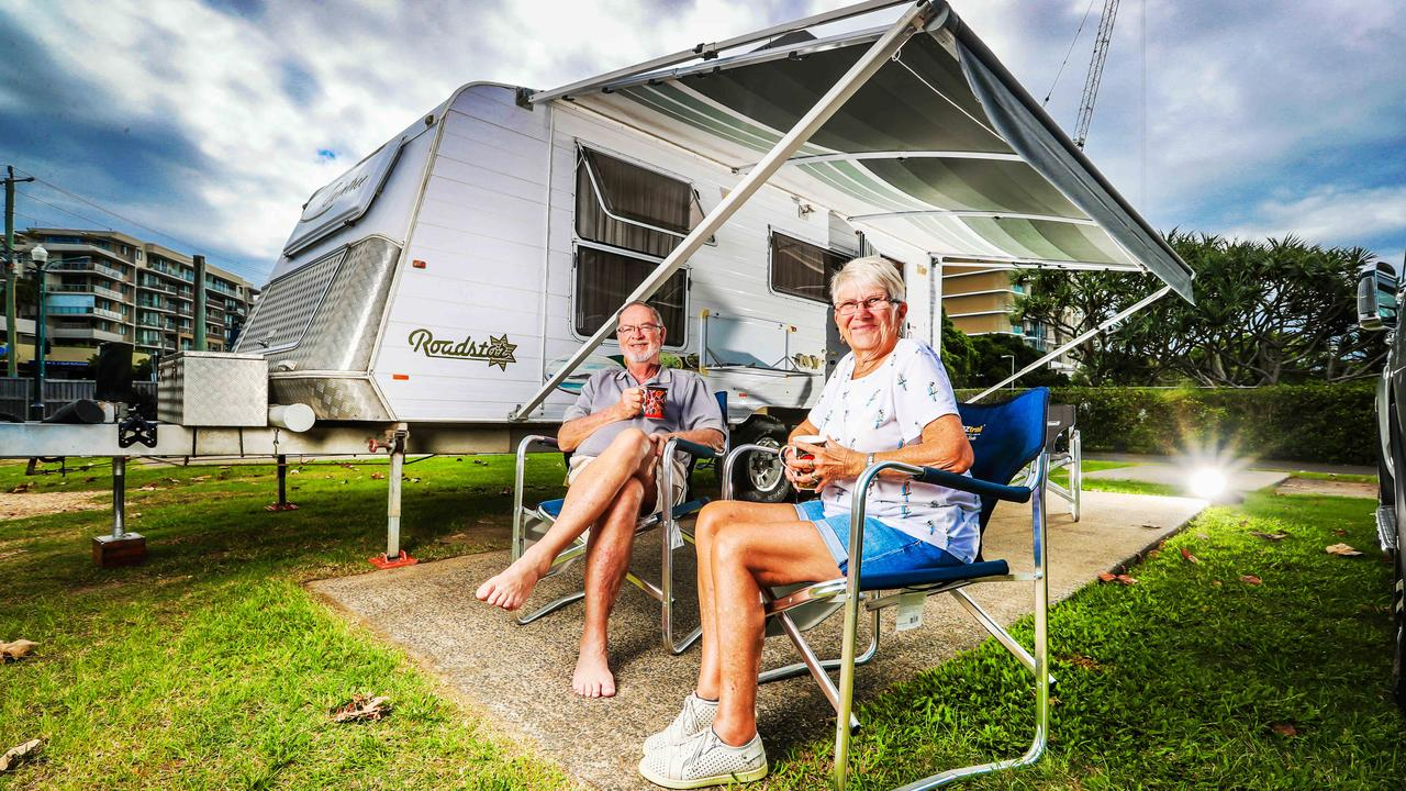 Retirees Trevor and Theresa Smeltzer, of Mansfield, managed to beat the lockdown by one day to have a Gold Coast getaway at the Burleigh Heads Tourist Park. Picture: NIGEL HALLETT