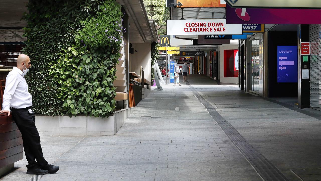 COVID-19 lockdown causing an empty Queens Street Mall, Brisbane. Photographer: Liam Kidston.