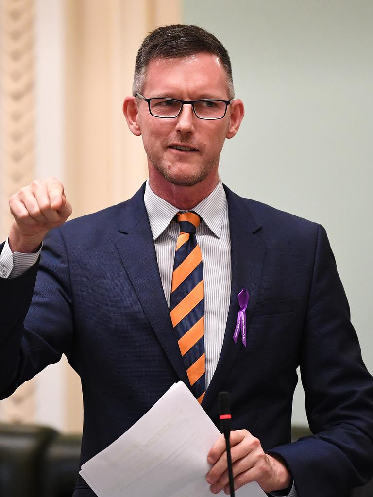 Queensland Transport Minister Mark Bailey speaks during Question Time at Parliament House in Brisbane. Picture: NCA NewsWire / Dan Peled