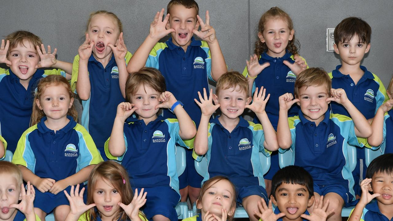 Baringa State Primary School preps pull funny faces. The Education Department says Coast schools will reopen from Wednesday. Picture: Patrick Woods.