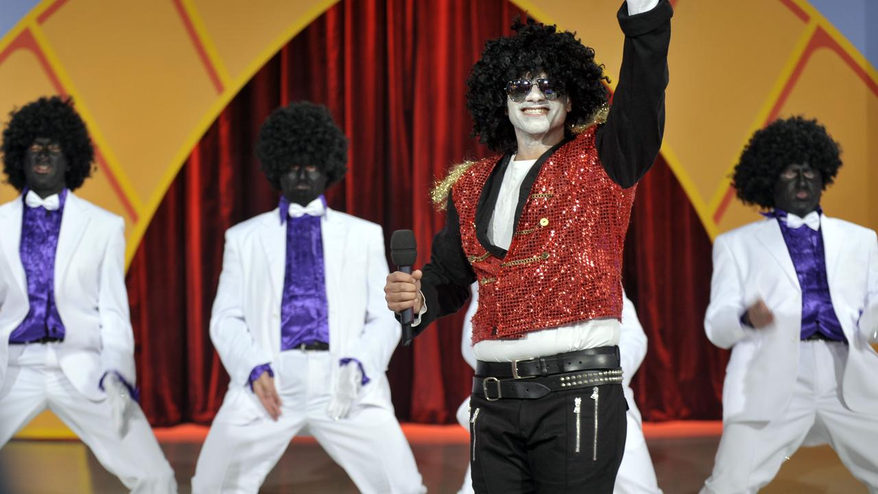 The infamous blackface skit on the Hey Hey It's Saturday reunion show in 2009. Picture: Supplied.