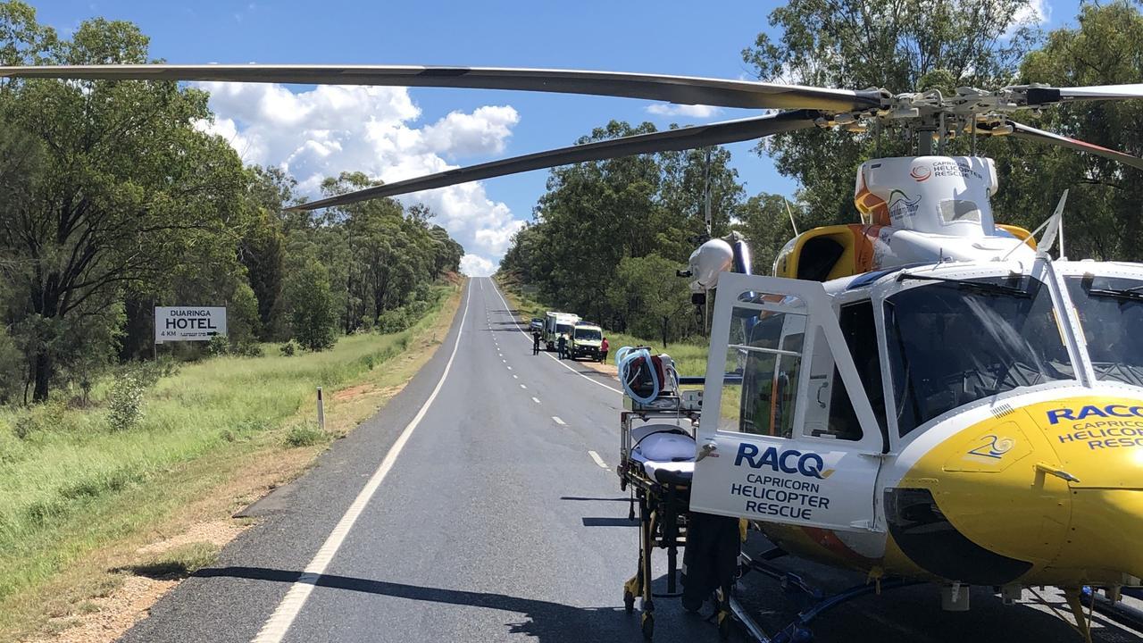 RACQ Capricorn Rescue at the scene of the crash.