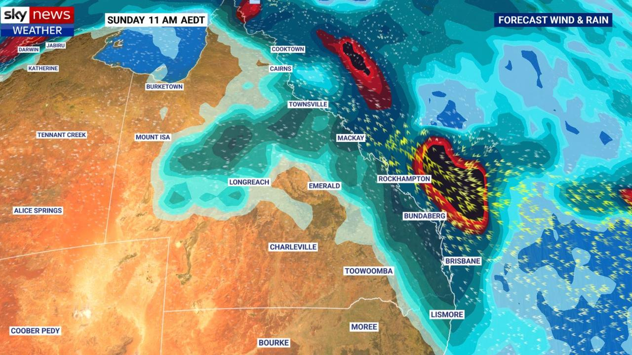 Heavy rain could hit Queensland and the north of NSW. Picture: Sky News Weather