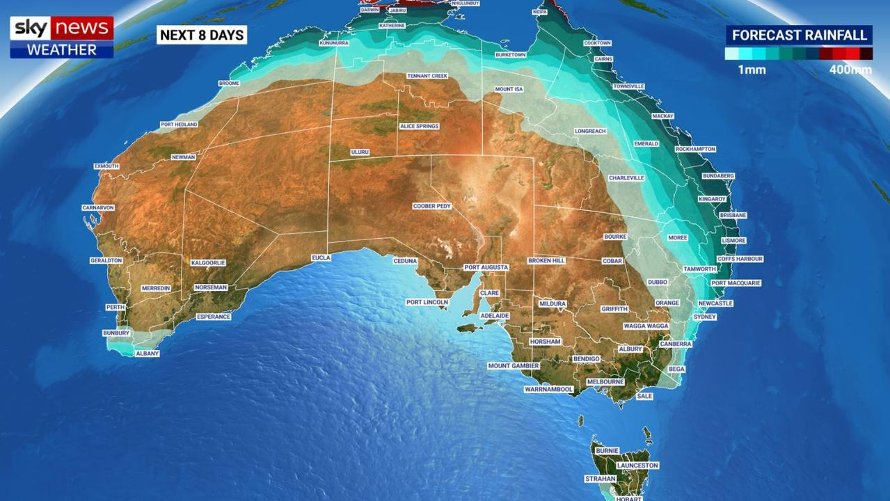 The next week, including Easter, could see rain across the east coast, Top End, NW Western Australia and south west WA. Picture: Sky News Weather.