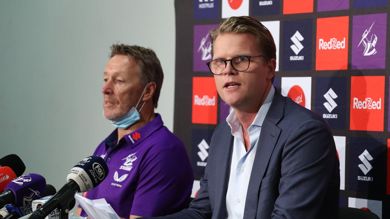 Craig Bellamy with Storm CEO Justin Rodski. Picture: NCA NewsWire/David Crosling