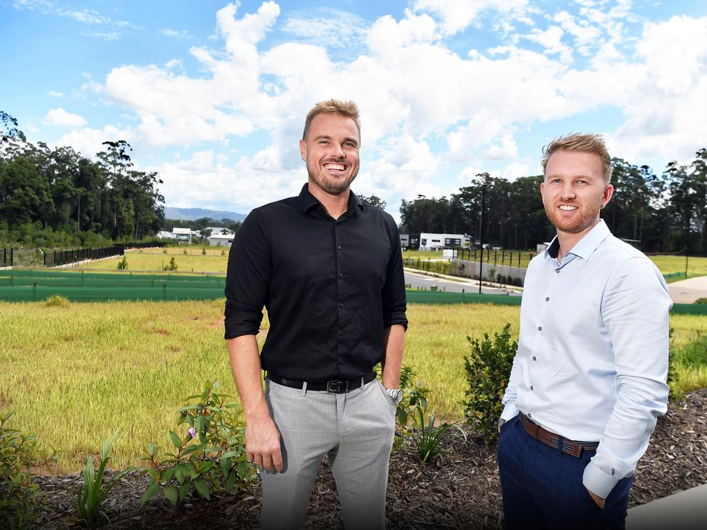 Town Group director Craig Morrison and Jamie Vibert at Azure Forest Glen where the final stage of the development is up for grabs. Picture: Patrick Woods.