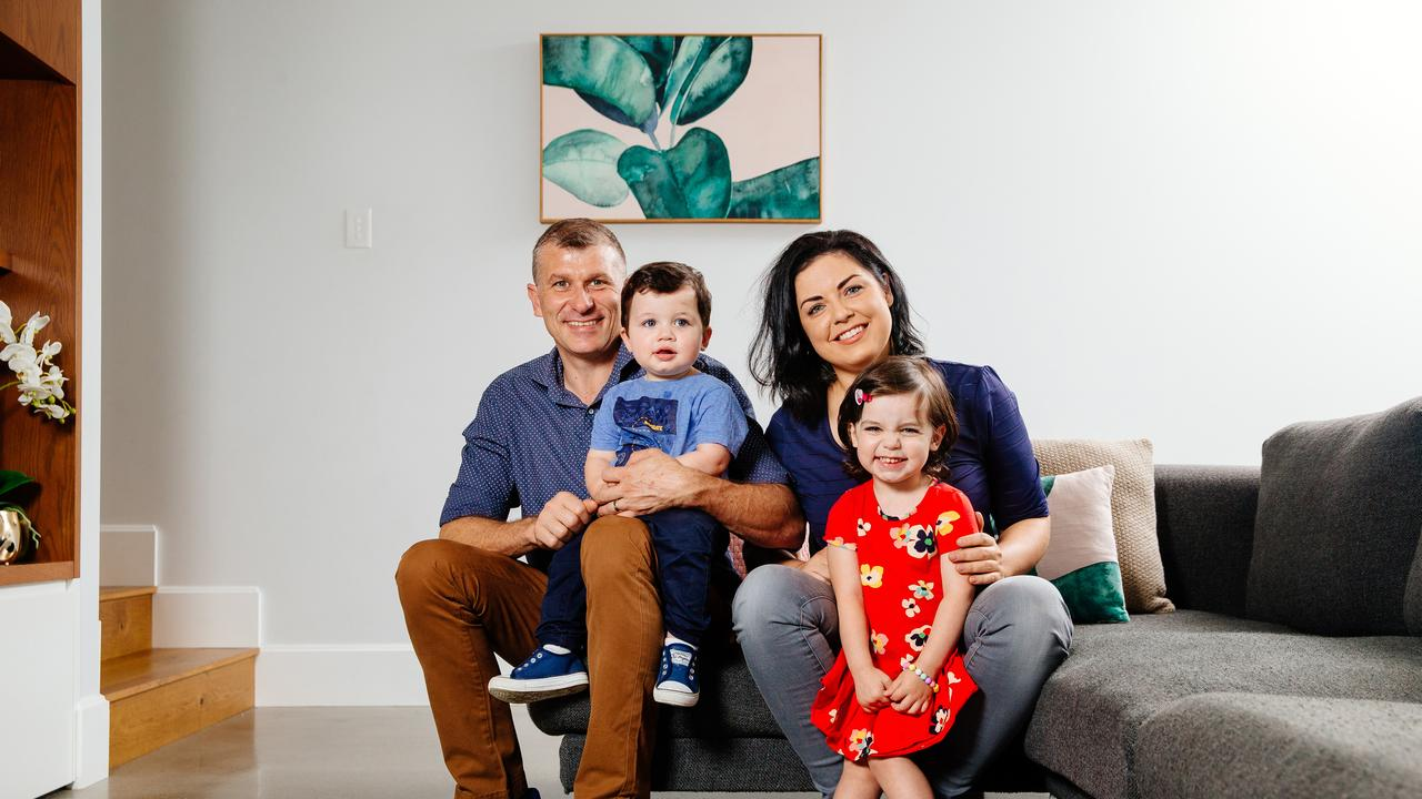 Emily McWaters and husband Enzo Di Lalla recently purchased in the suburb with their children Rocco and Lucy in 2017. Picture: Jonathan Ng