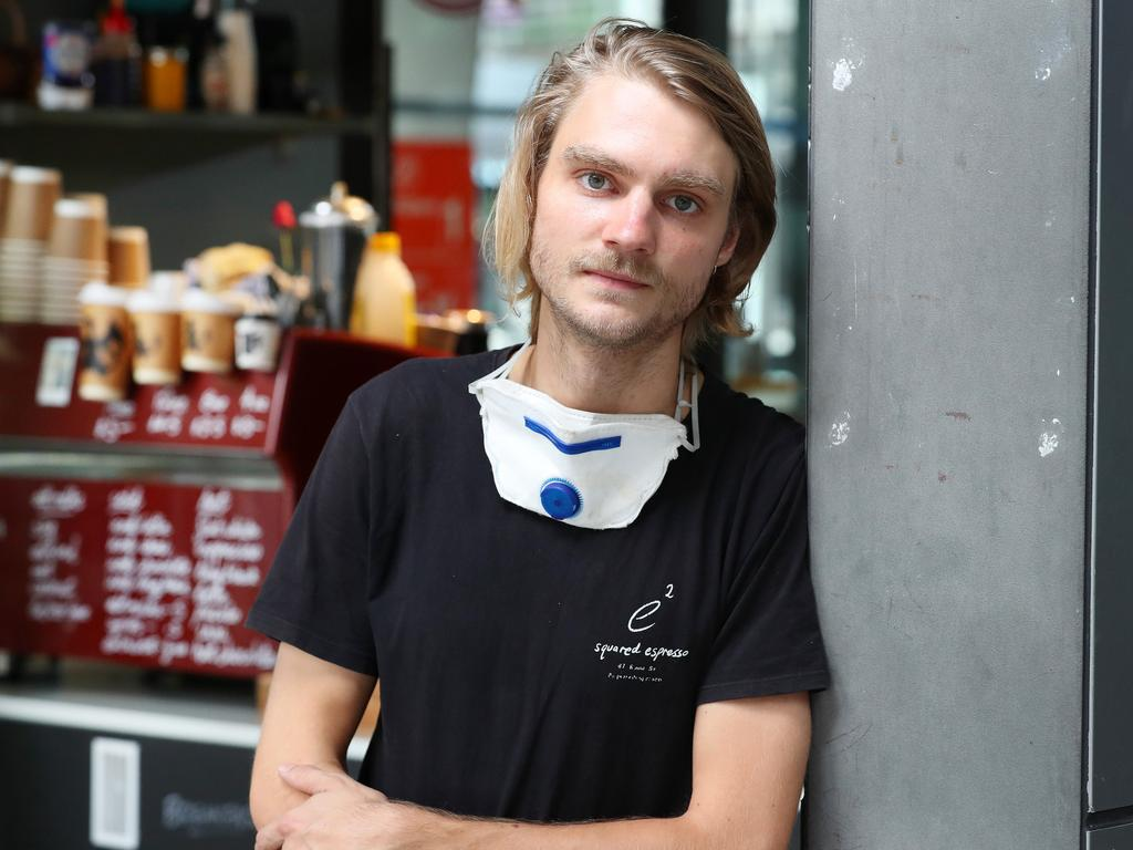 Squared Espresso owner Jesse Sargent said Brisbane CBD was a ghost town on the first day of lockdown, Brisbane. Photographer: Liam Kidston.