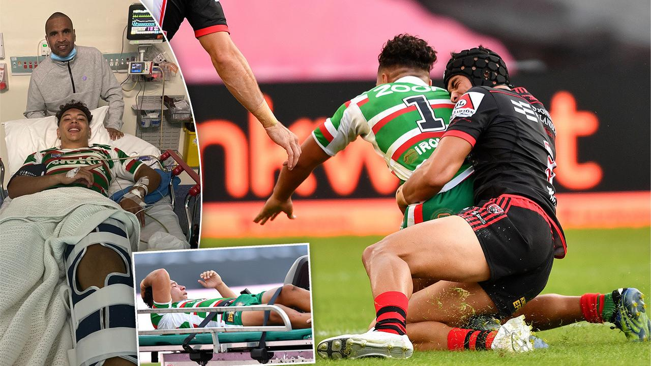 Anthony Mundine's son C.J almost followed his dad into retirement after a freak injury suffered in a tackle with Roosters rookie sensation Joseph Suaalii.