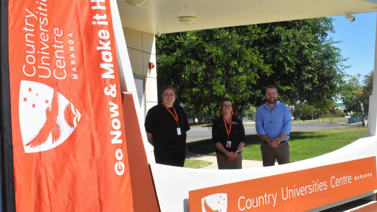 STATE FIRST: Student Jess Harland, Centre Manager Bec Coffey and CUC Maranoa Chair Cameron O'Neil at the opening of the Country Universities Centre Maranoa.