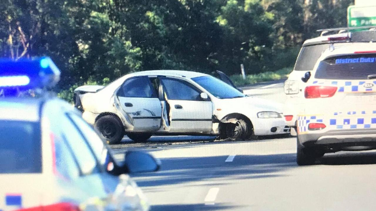The white sedan driven by Hammond during the high speed chase on the Bruce Highway. Picture: File