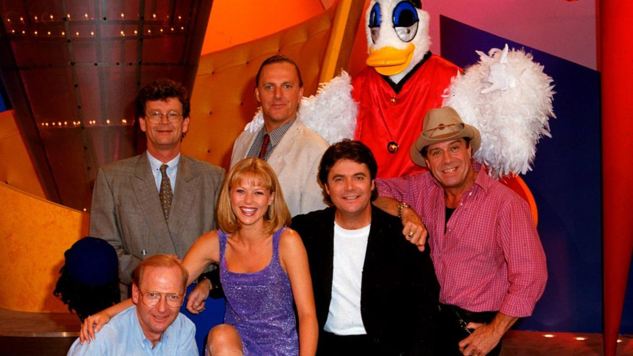 The cast of Hey Hey It's Saturday: Red Symons, Wilbur Wilde, Plucka Duck, John Blackman, Jo Beth Taylor, Daryl Somers and Ian 'Molly' Meldrum. Picture: Supplied.